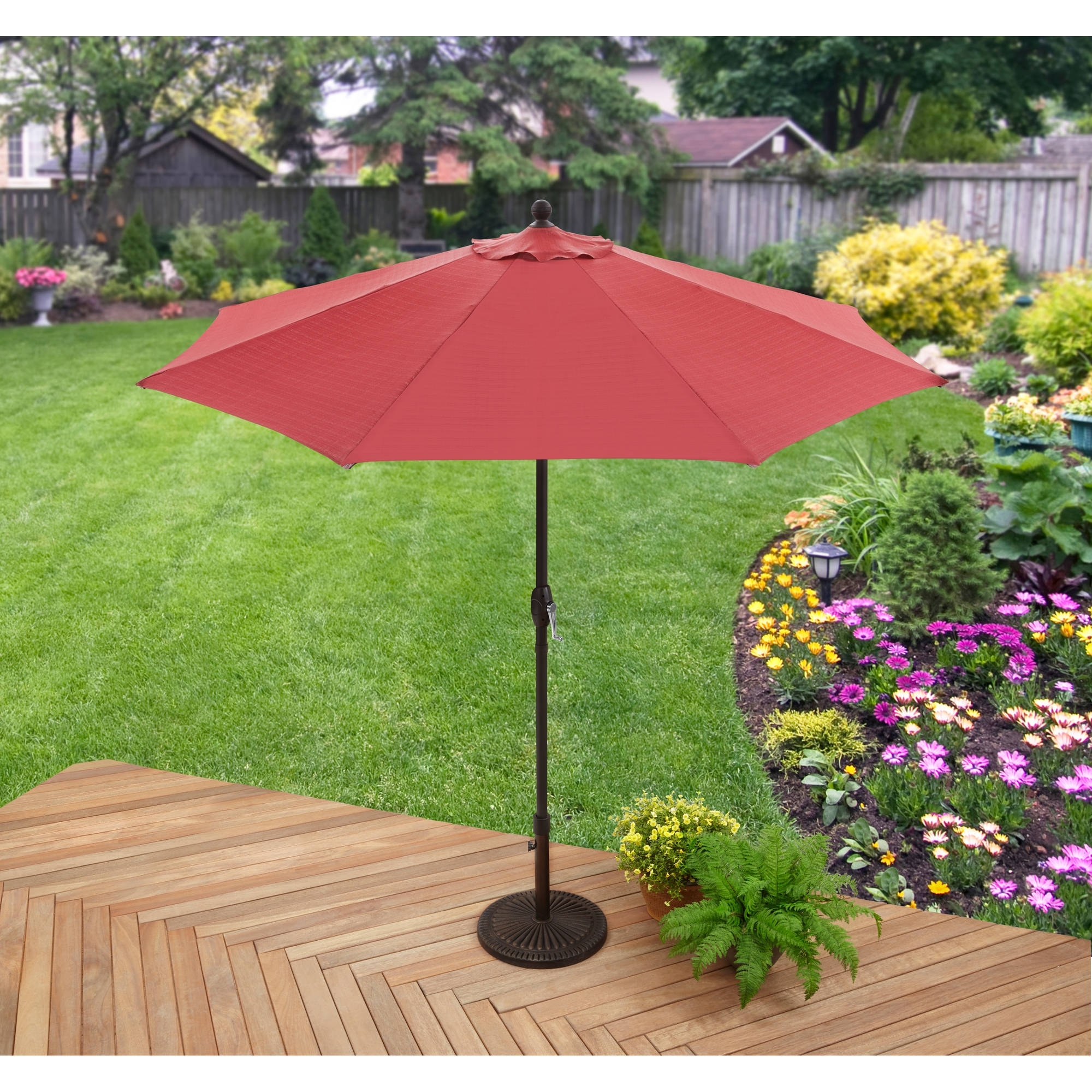 Better Homes And Gardens 9' Market Umbrella, Red – Walmart For Newest Walmart Patio Umbrellas (View 2 of 20)