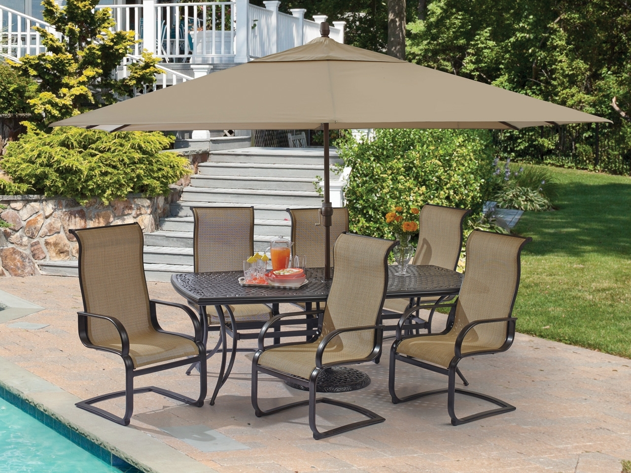 Big Lots Patio Umbrellas For Popular 8 Piece Patio Dining Set Furniture Walmart Lowes Big Lots Outdoor (View 14 of 20)