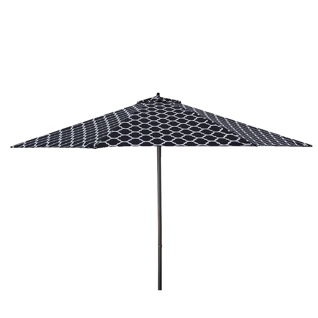Black And White Patio Umbrellas In Well Liked Shop Lauren & Company 9' Black/white Moroccan Pattern Patio Umbrella (Gallery 12 of 20)