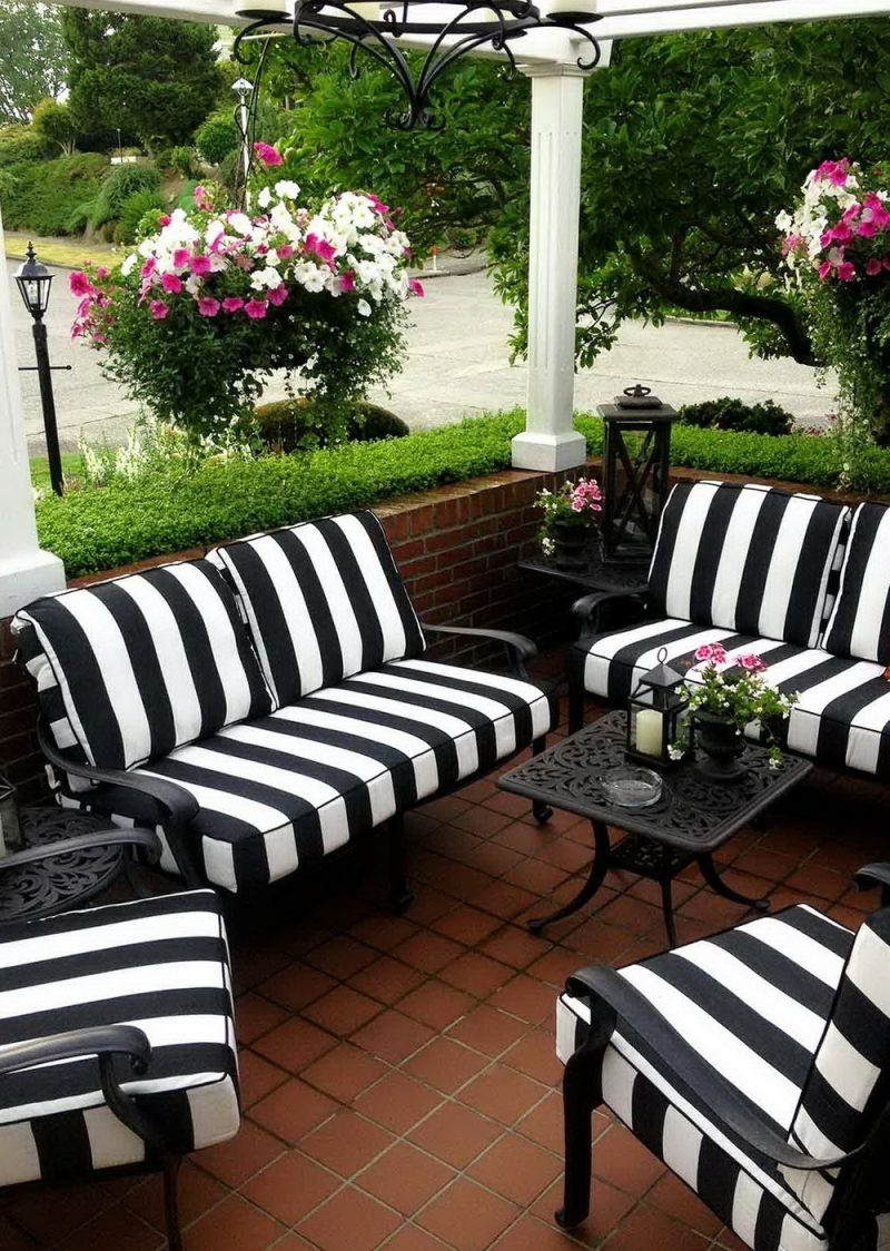 Black And White Patio Umbrellas Pertaining To Famous Black And White Striped Patio Umbrella – Home Design And (Gallery 16 of 20)