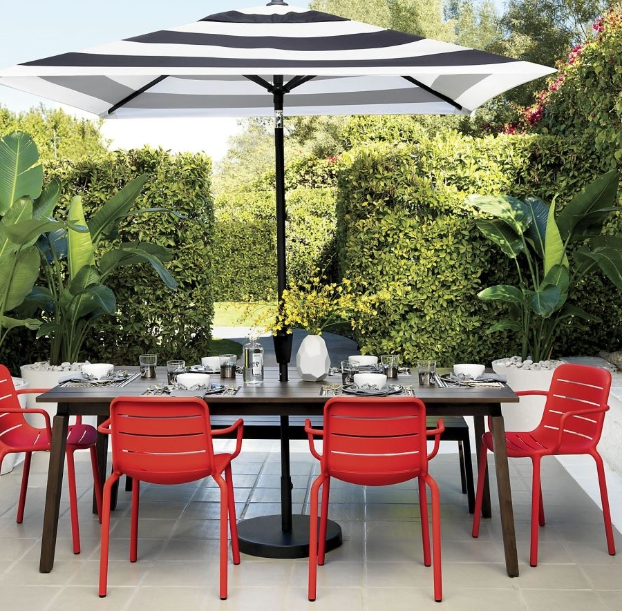 Black And White Striped Patio Umbrella — Cape Atlantic Decor With Widely Used Striped Patio Umbrellas (View 2 of 20)