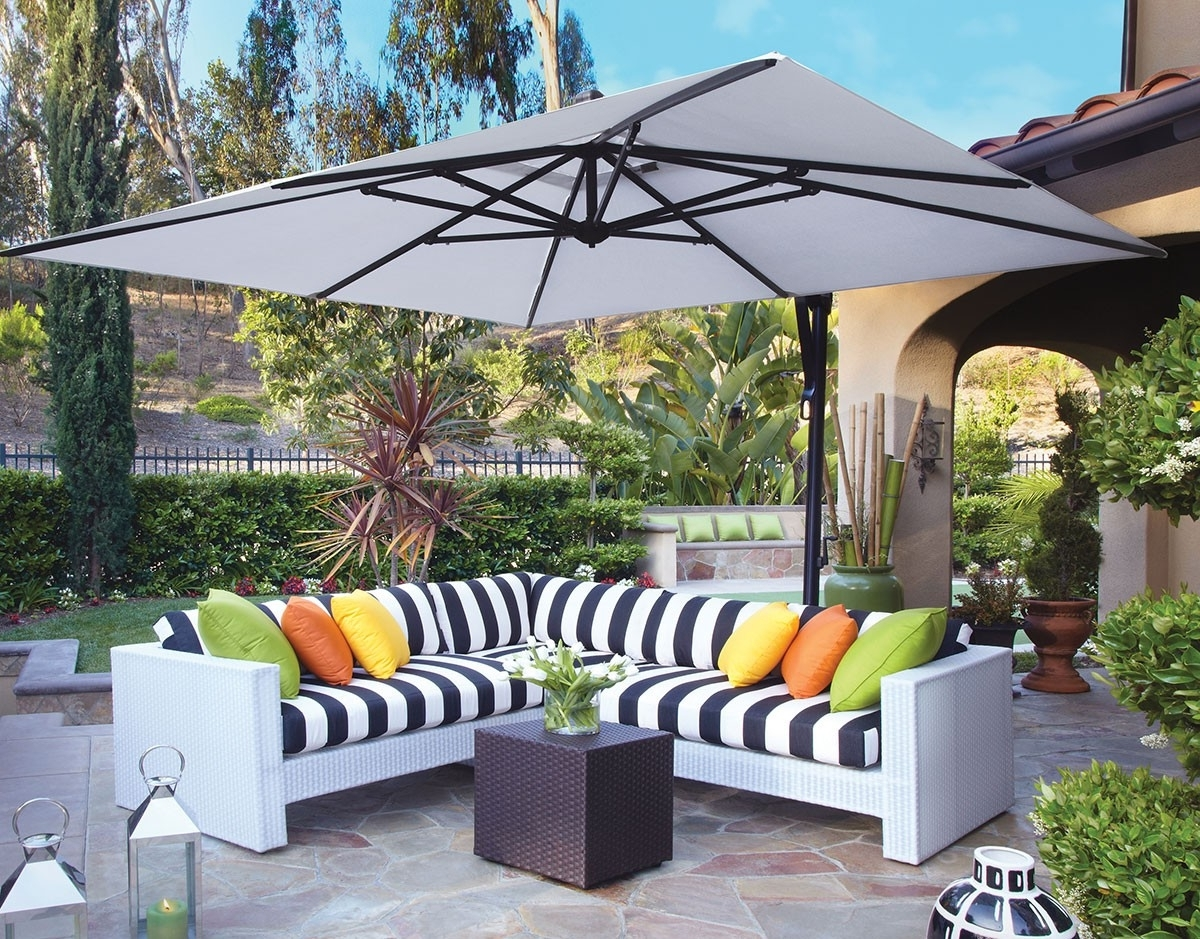 Black And White Striped Patio Umbrellas Throughout 2019 Modern Patio Outdoor With Rectangle Standing Umbrella, And Black (View 17 of 20)