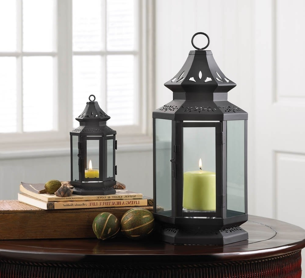 Black Outdoor Lanterns Inside Popular Candle Lantern Decor, Large Black Outdoor Metal Candle Lanterns Iron (View 2 of 20)