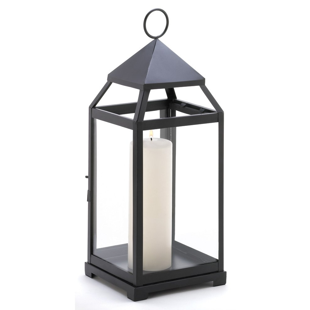 Black Outdoor Lanterns With Most Recently Released Metal Candle Lanterns, Large Iron Black Outdoor Candle Lantern For (Gallery 12 of 20)