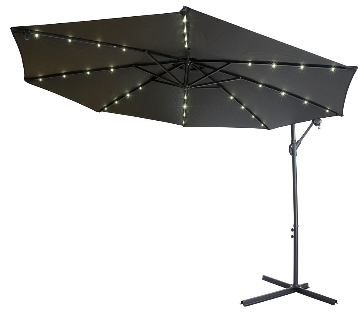 Black Patio Umbrella With Solar Lights 10 Deluxe Polyester Fset With Regard To Most Popular Sunbrella Patio Umbrellas With Solar Lights (View 3 of 20)