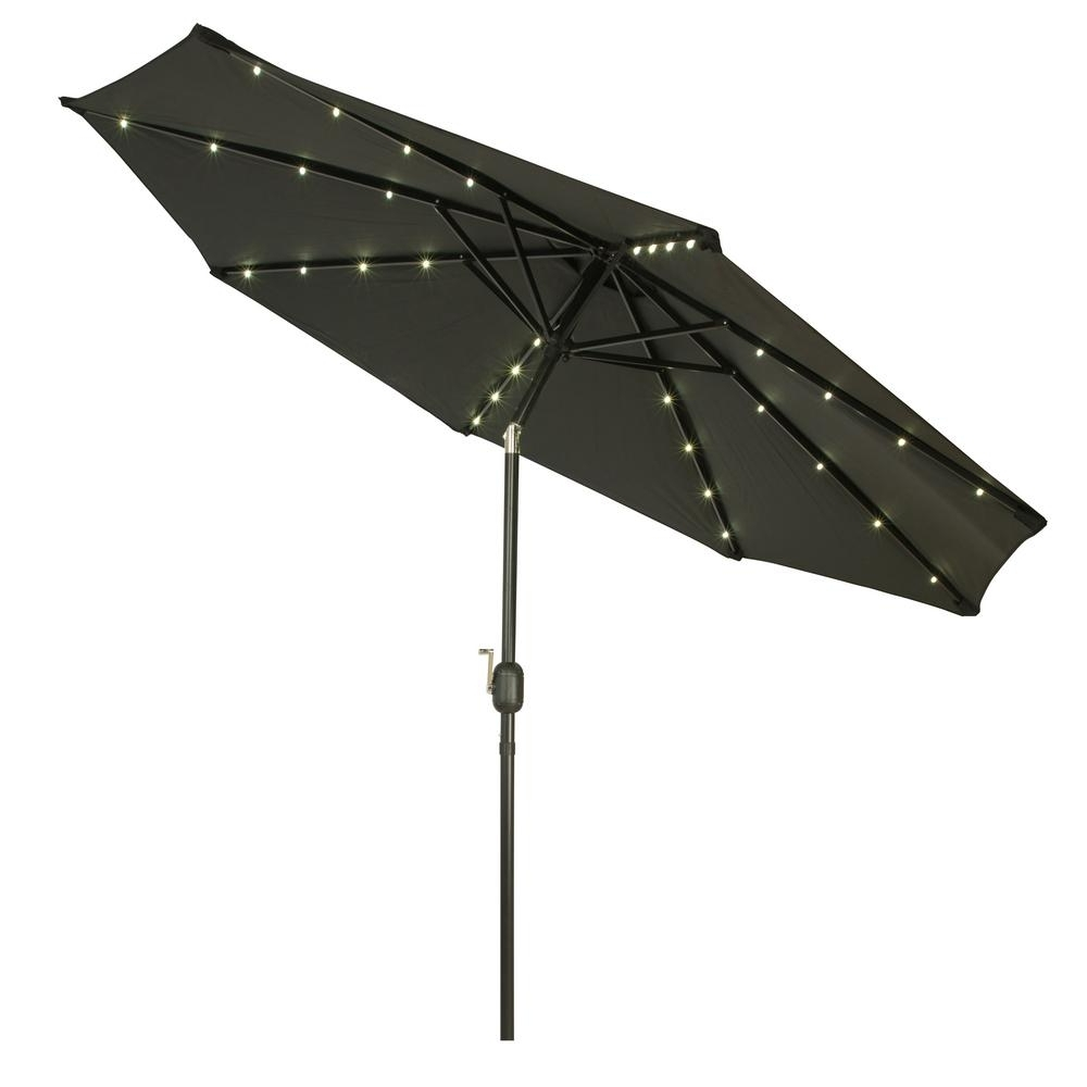 Black Patio Umbrellas With Regard To Most Current Trademark Innovations 9 Ft. Deluxe Solar Powered Led Lighted Patio (Gallery 12 of 20)