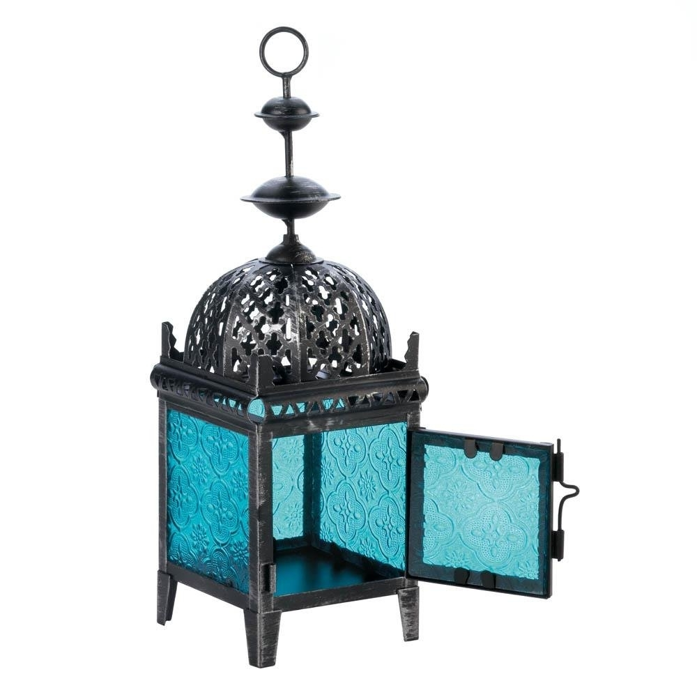 Blue Outdoor Lanterns With Well Known Floor Lanterns, Blue Medallion Metal Decorative Patio Charm Outdoor (View 2 of 20)