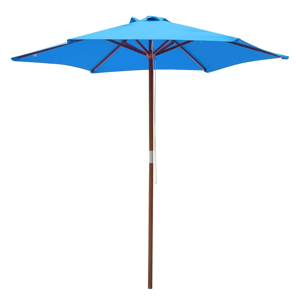 Blue Patio Umbrellas Inside Well Known 8' 9' 13' Outdoor Patio Wood Umbrella Wooden Pole Market Beach (Gallery 18 of 20)