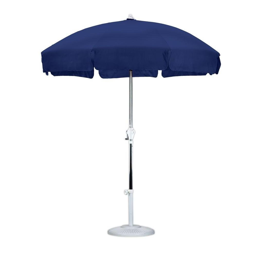 Blue Patio Umbrellas Pertaining To Widely Used California Umbrella 9 Ft. Aluminum Collar Tilt Patio Umbrella In (Gallery 20 of 20)