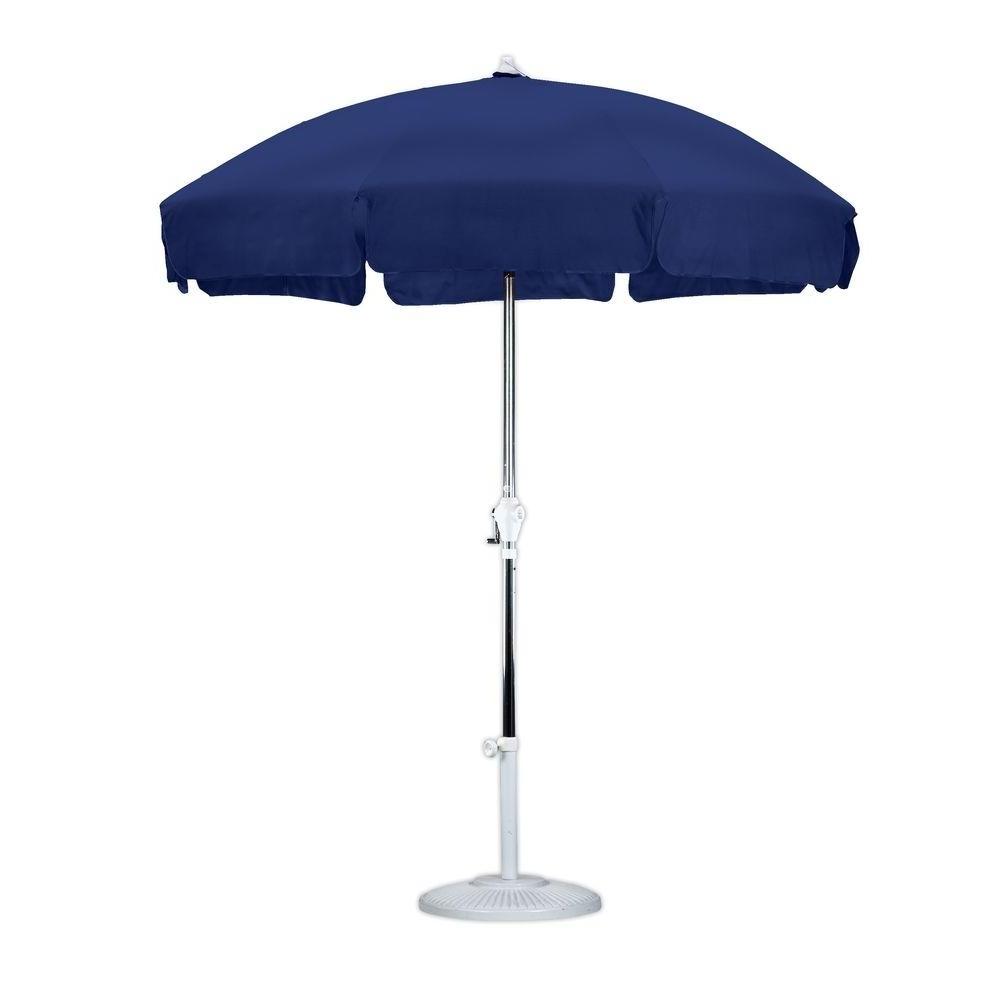 Blue Patio Umbrellas Pertaining To Widely Used California Umbrella 9 Ft. Aluminum Collar Tilt Patio Umbrella In (Gallery 20 of 20)