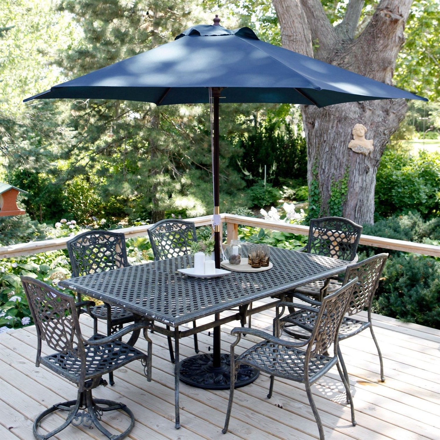 Blue Patio Umbrellas Throughout Widely Used Navy Blue 11 Ft Patio Umbrella With Antique Bronze Pole And Base (View 15 of 20)