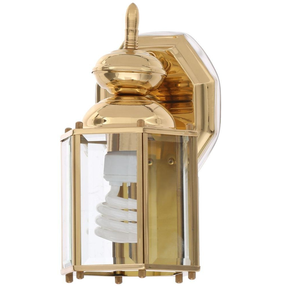 Brass Outdoor Lanterns Pertaining To Best And Newest Progress Lighting Brass Guard Collection 5.5 Inch Polished Brass (Gallery 7 of 20)