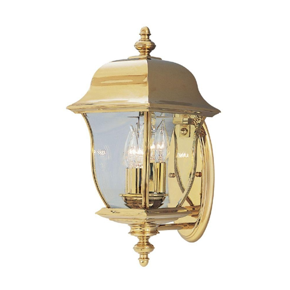 Brass Outdoor Lanterns Pertaining To Trendy Designers Fountain Oak Harbor 3 Light Polished Brass Outdoor Wall (Gallery 2 of 20)