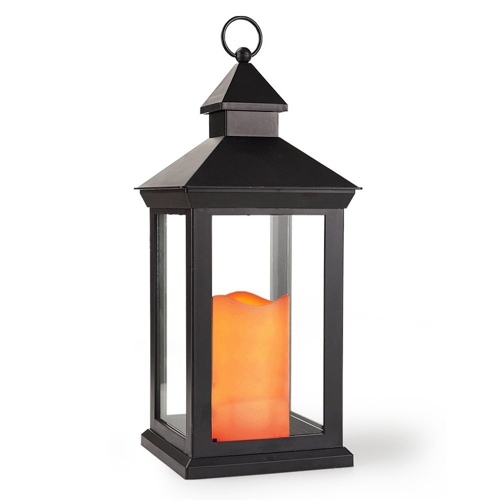 "Bright Zeal 14"" Tall Vintage Decorative Lantern With Led Flickering Pertaining To Most Recently Released Outdoor Lanterns With Battery Candles (View 2 of 20)"