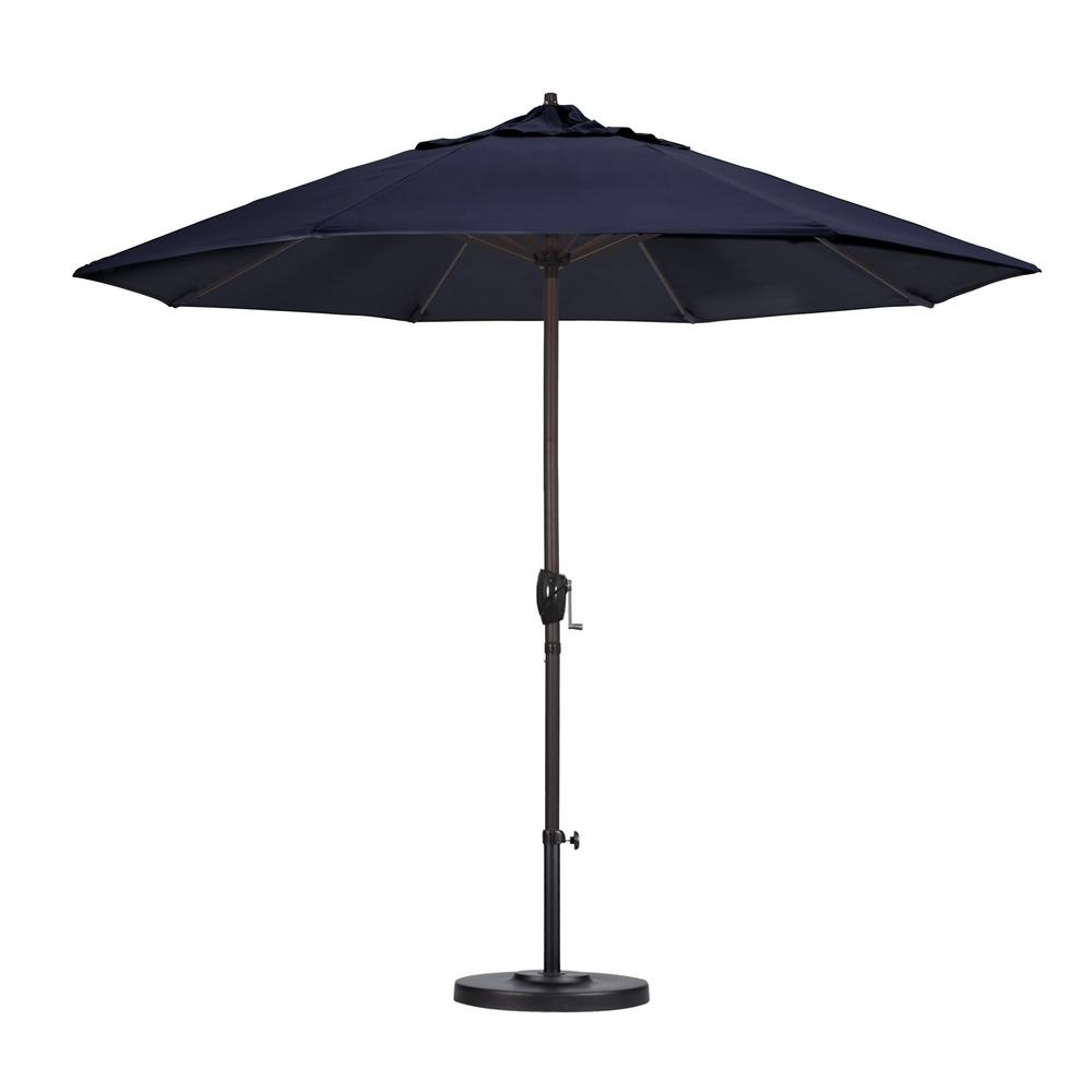 California Umbrella 9 Ft. Aluminum Auto Tilt Patio Umbrella In Navy Pertaining To Famous Blue Patio Umbrellas (Gallery 3 of 20)