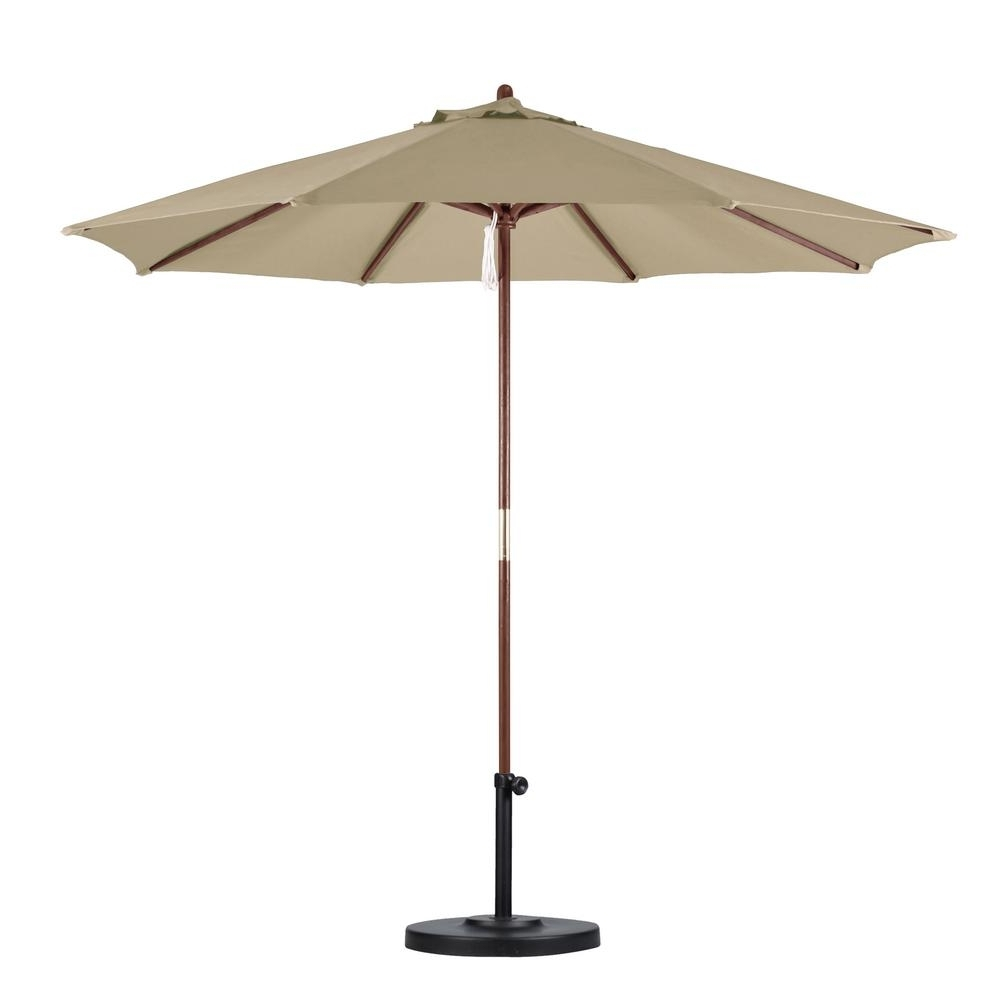 California Umbrella 9 Ft. Wood Pulley Open Patio Umbrella In Antique Inside 2018 Wooden Patio Umbrellas (Gallery 10 of 20)