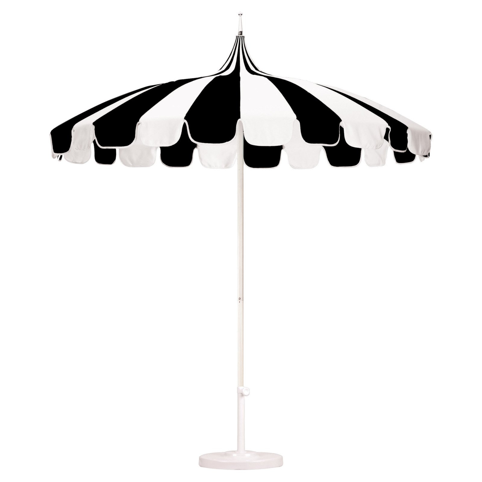California Umbrella Pagoda 8.5 Ft. Striped Pacifica Patio Umbrella Pertaining To Most Popular Black And White Patio Umbrellas (Gallery 3 of 20)