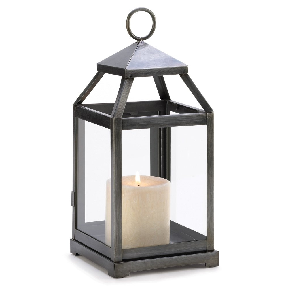 Candle Lanterns Decorative, Iron Patio Rustic Silver Metal Candle Regarding Well Known Outdoor Candle Lanterns For Patio (View 4 of 20)