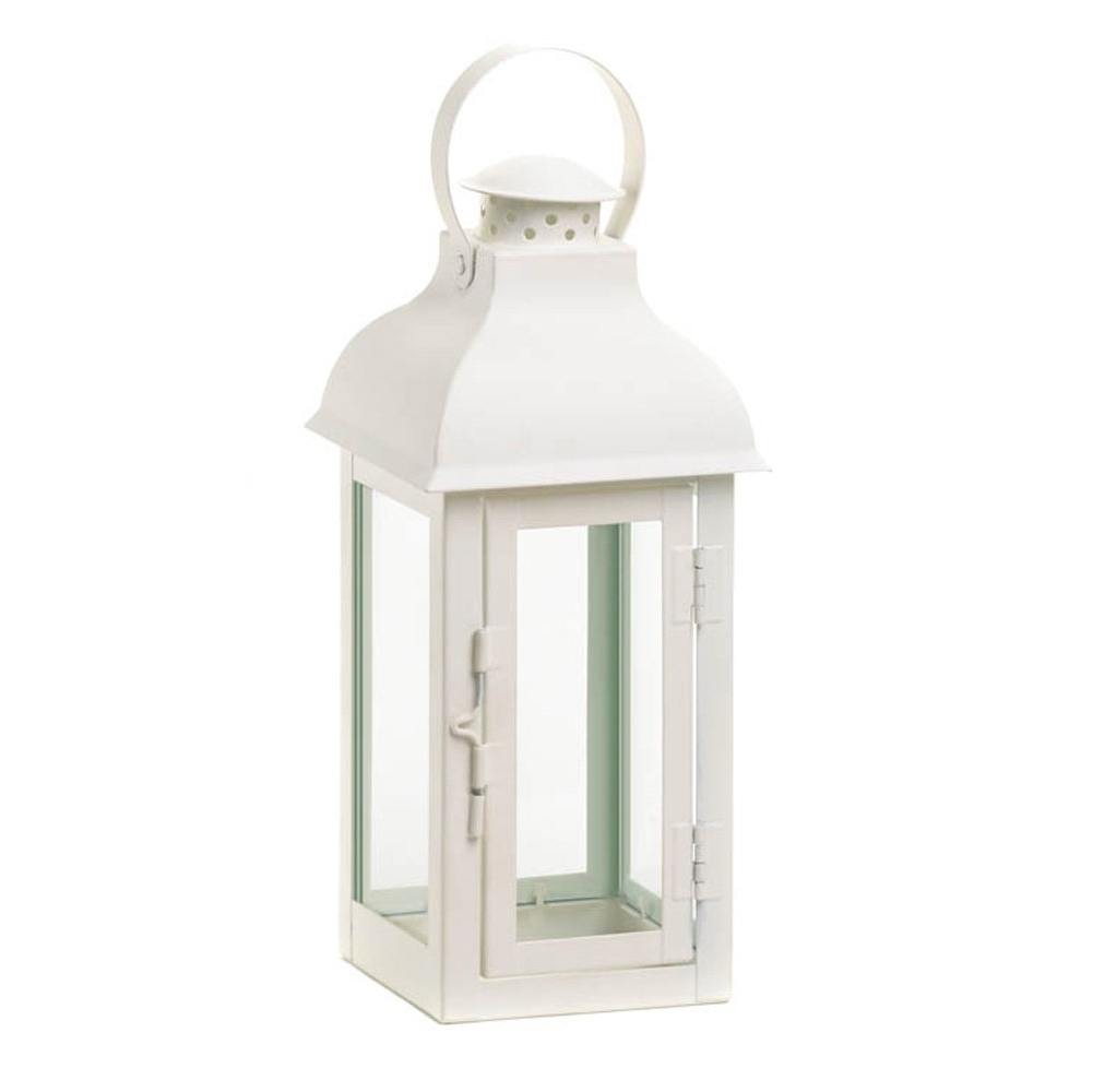 Candle Lanterns Decorative White, Rustic Wrought Metal Candle Holder Regarding Best And Newest White Outdoor Lanterns (View 3 of 20)