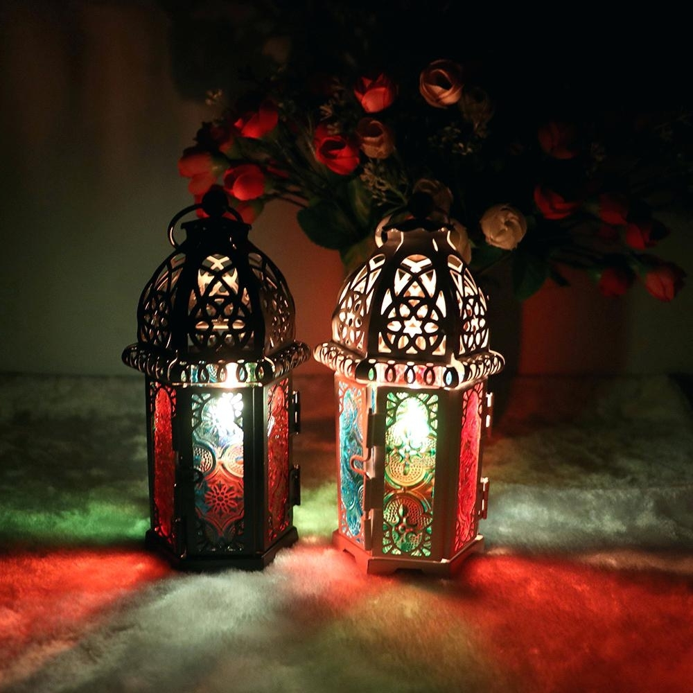 Candles ~ Mini Candle Lanterns Mosaic Lantern Holders And Candles With Famous Outdoor Mosaic Lanterns (View 9 of 20)