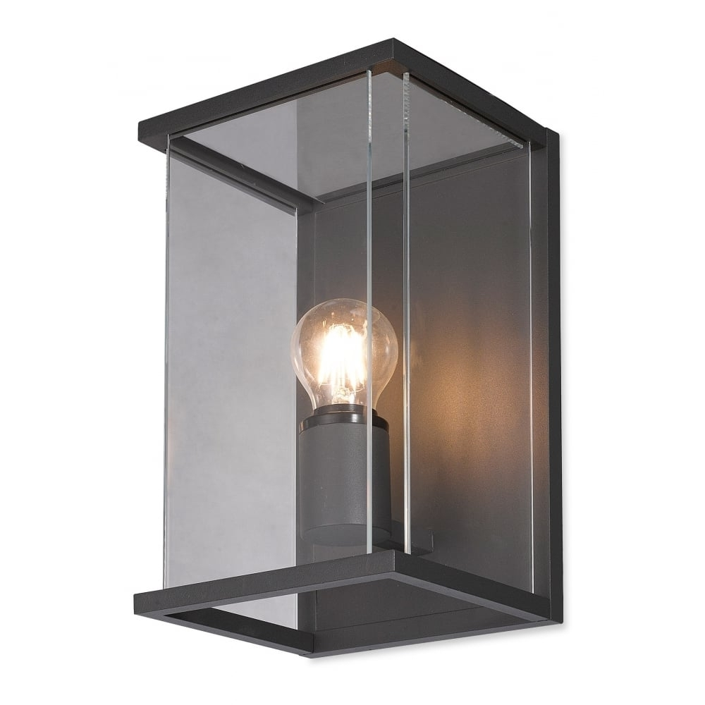 Carlton Outdoor Box Wall Lantern In Graphite With Clear Glass Panels Pertaining To Preferred Outdoor Grey Lanterns (View 4 of 20)