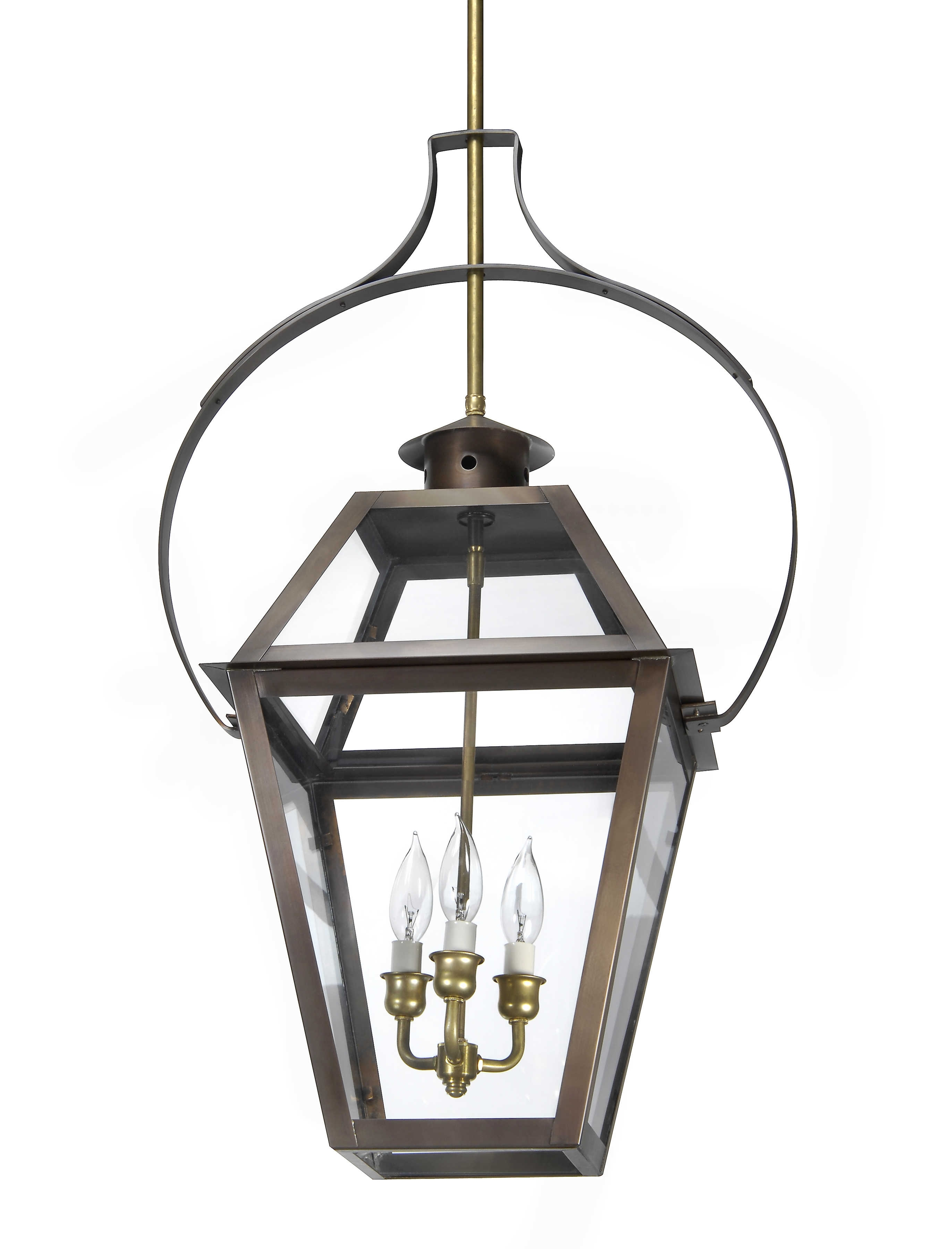 Ch 23 Hanging Yoke Light– Lantern & Scroll With Regard To Copper Outdoor Electric Lanterns (View 5 of 20)