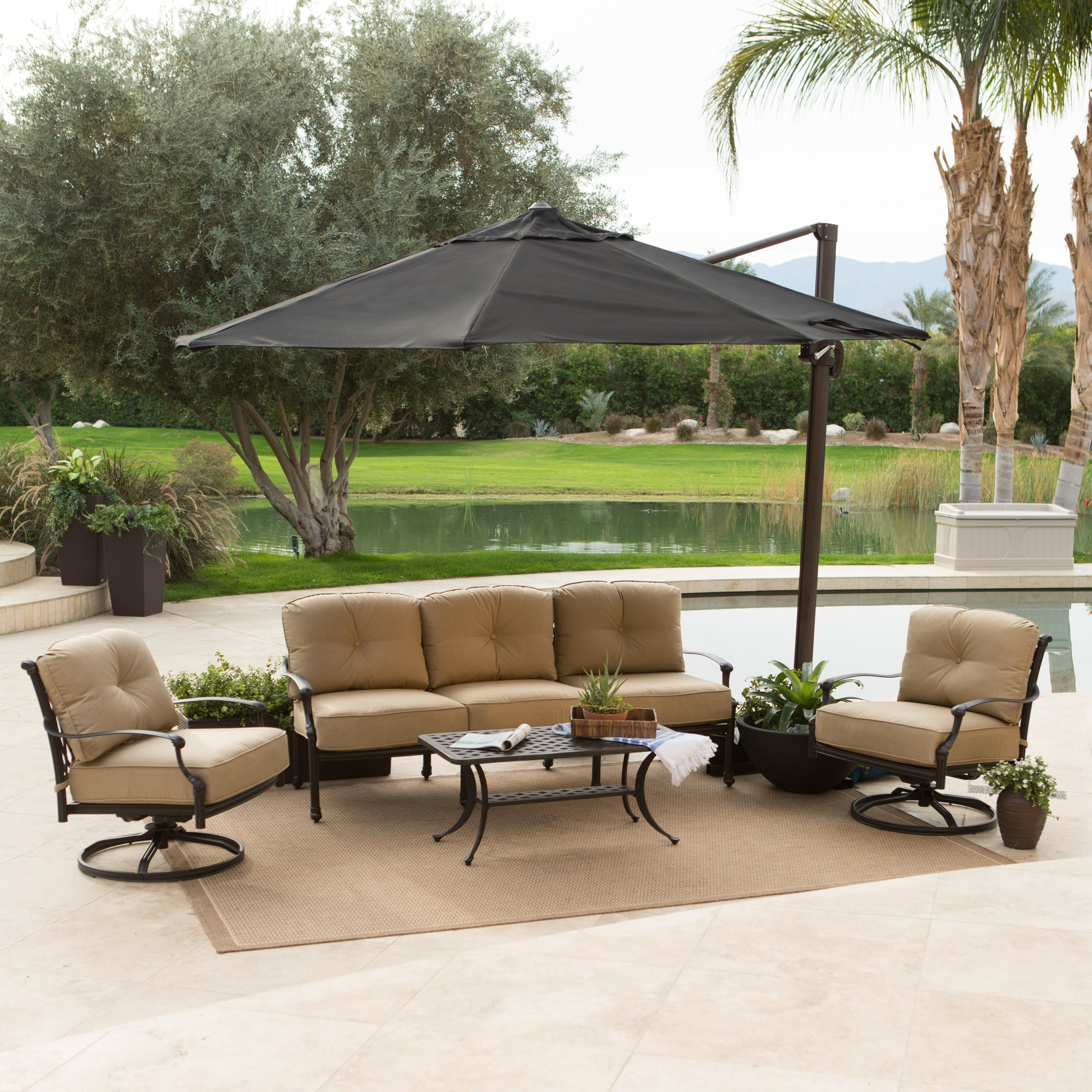 Cheerful Outdoor Patio Design With Chairs And Table Sets Protected For Fashionable Rectangular Offset Patio Umbrellas (View 1 of 20)