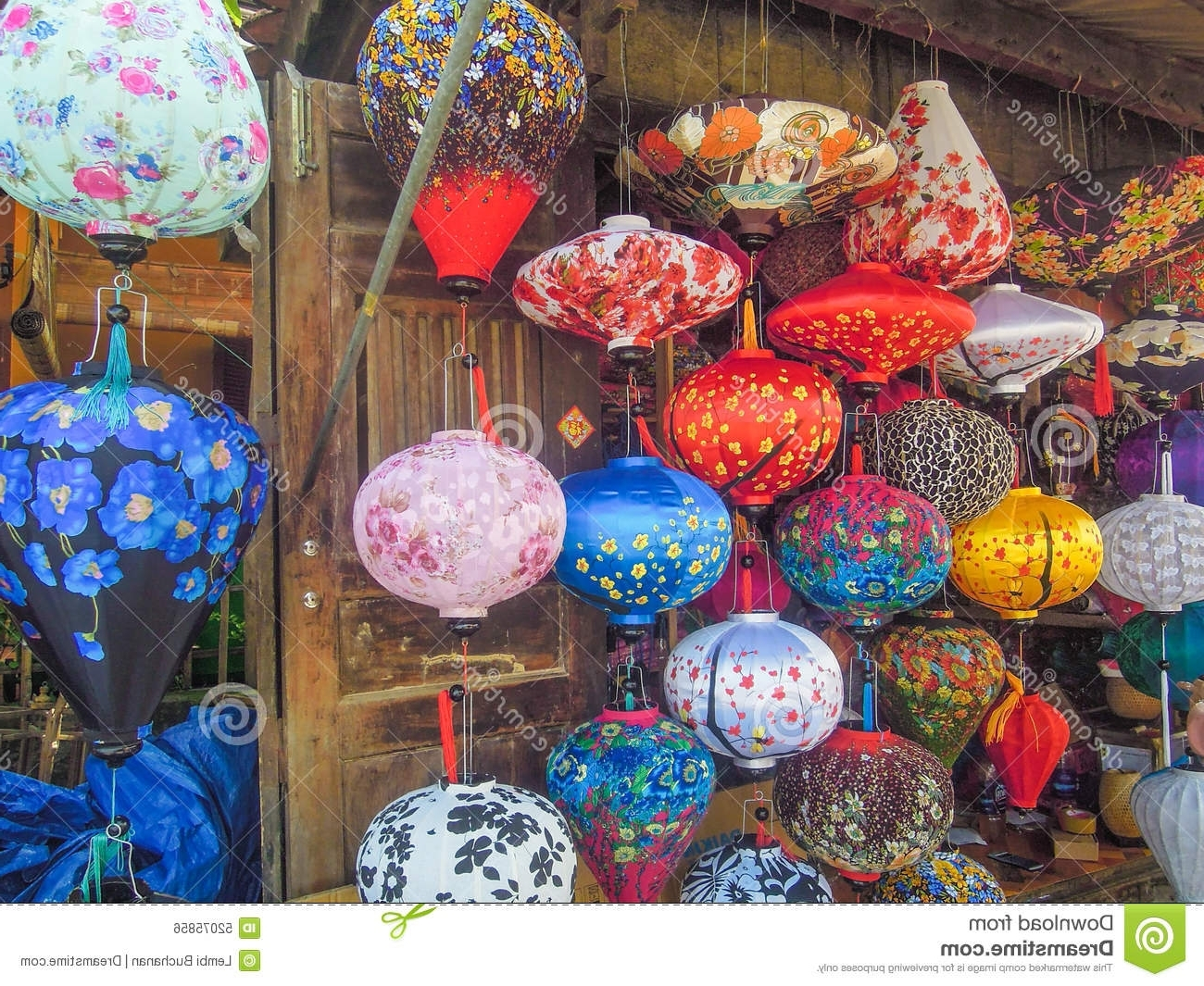 Colorful Chinese Lanterns For Sale At An Outdoor Market In Vietnam Throughout Preferred Colorful Outdoor Lanterns (View 1 of 20)