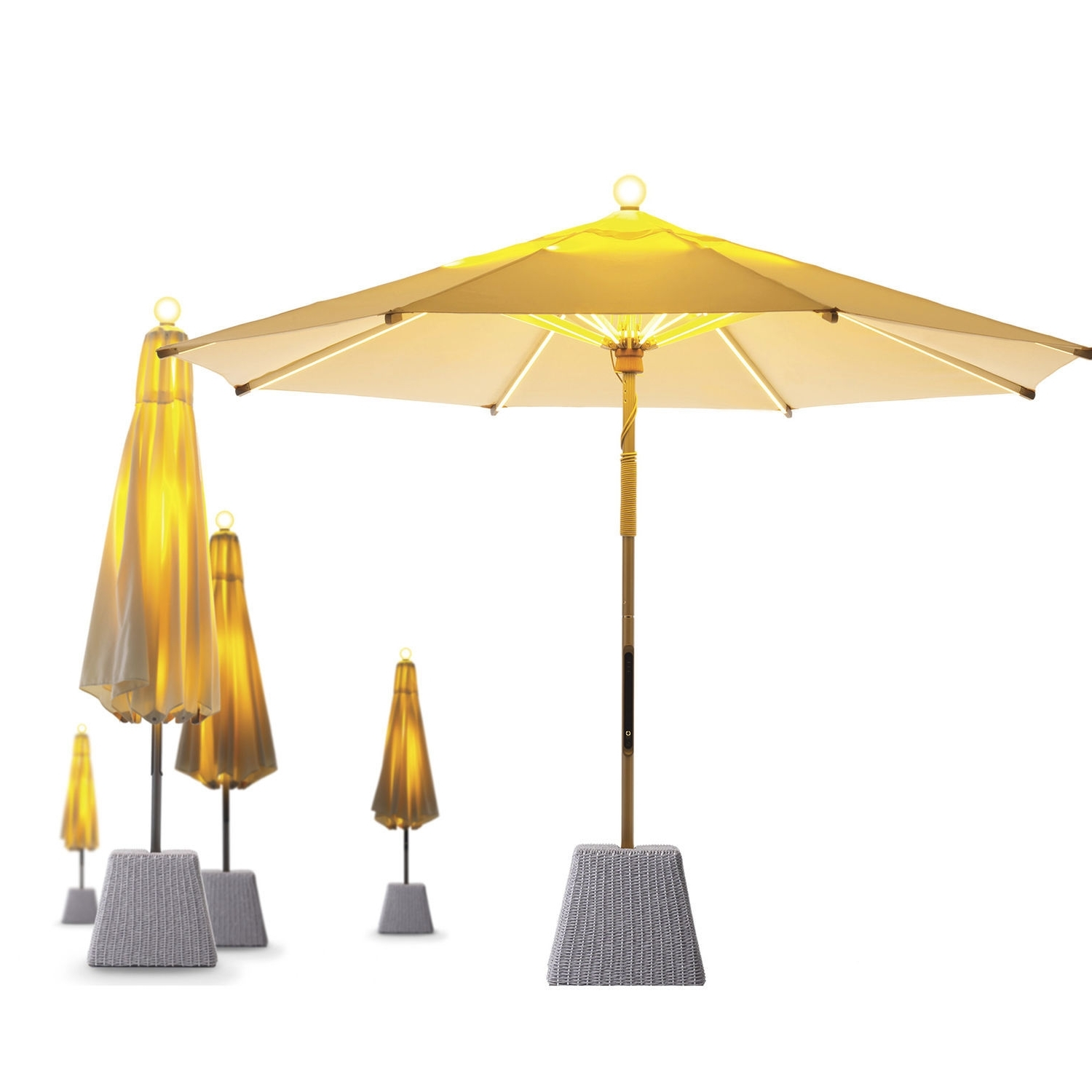 Commercial Patio Umbrella / Teak / Aluminum / With Heater – Ni For Fashionable Sunbrella Patio Umbrella With Lights (View 4 of 20)