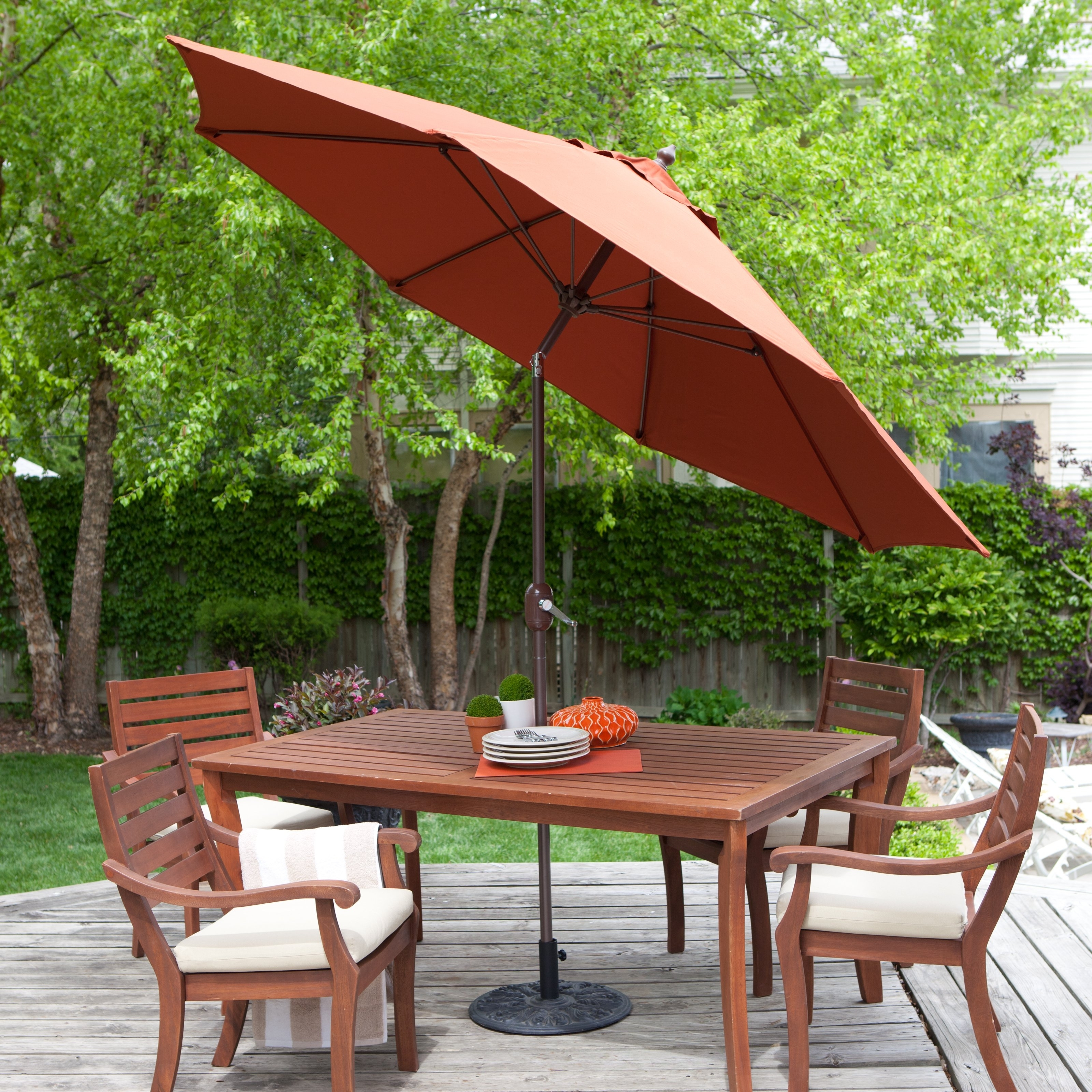 Commercial Patio Umbrellas Sunbrella Intended For Well Known Galtech Sunbrella 11 Ft. Maximum Shade Deluxe Aluminum Auto Tilt (Gallery 19 of 20)