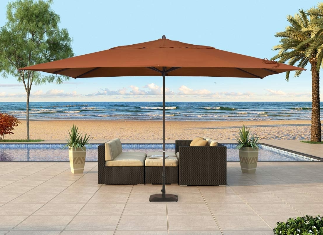 Contemporary Patio Outdoor With Rectangular Standing Umbrella, And With Famous Patio Umbrellas With Sunbrella Fabric (View 7 of 20)