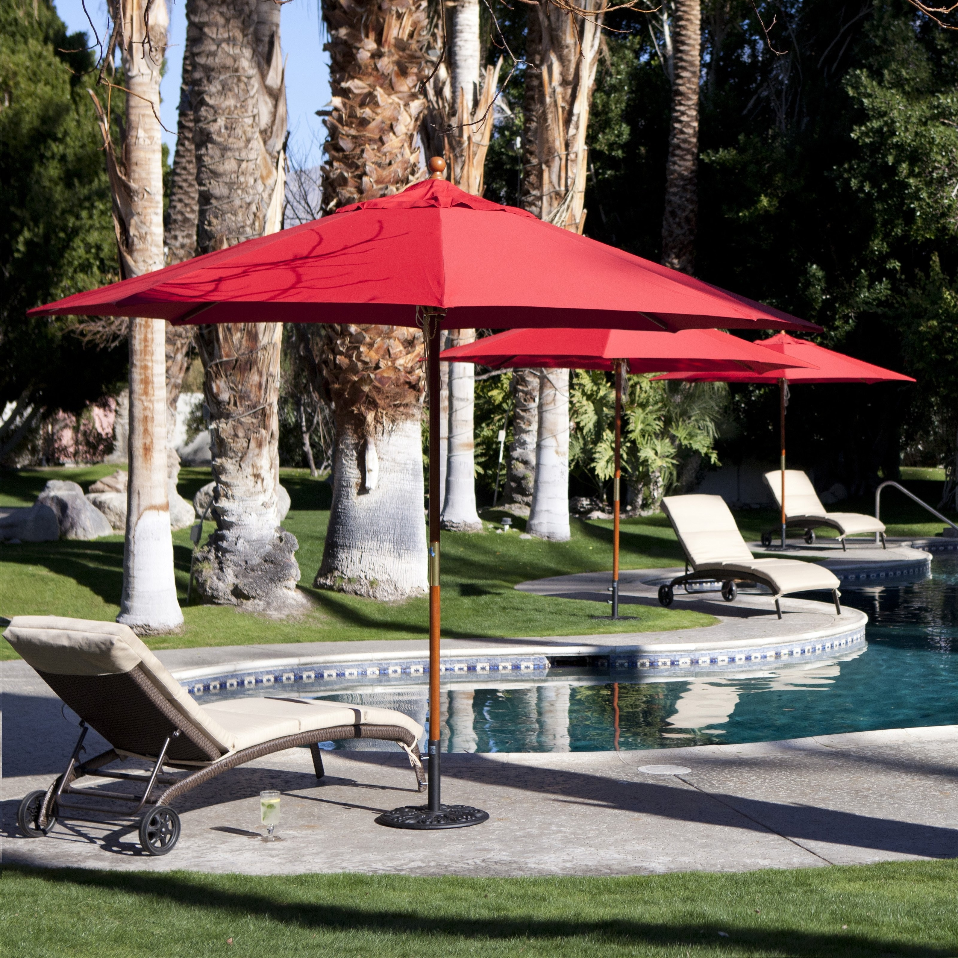 Coral Coast 11 Ft Mercial Wood Sunbrella Patio Umbrella Mercial Pati For Latest Red Sunbrella Patio Umbrellas (View 3 of 20)