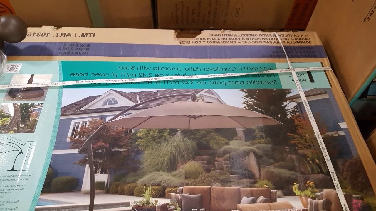 Costco! Proshade 11 Ft Parasol Cantilever Umbrella! $489! – Youtube In Widely Used Patio Umbrellas From Costco (View 6 of 20)