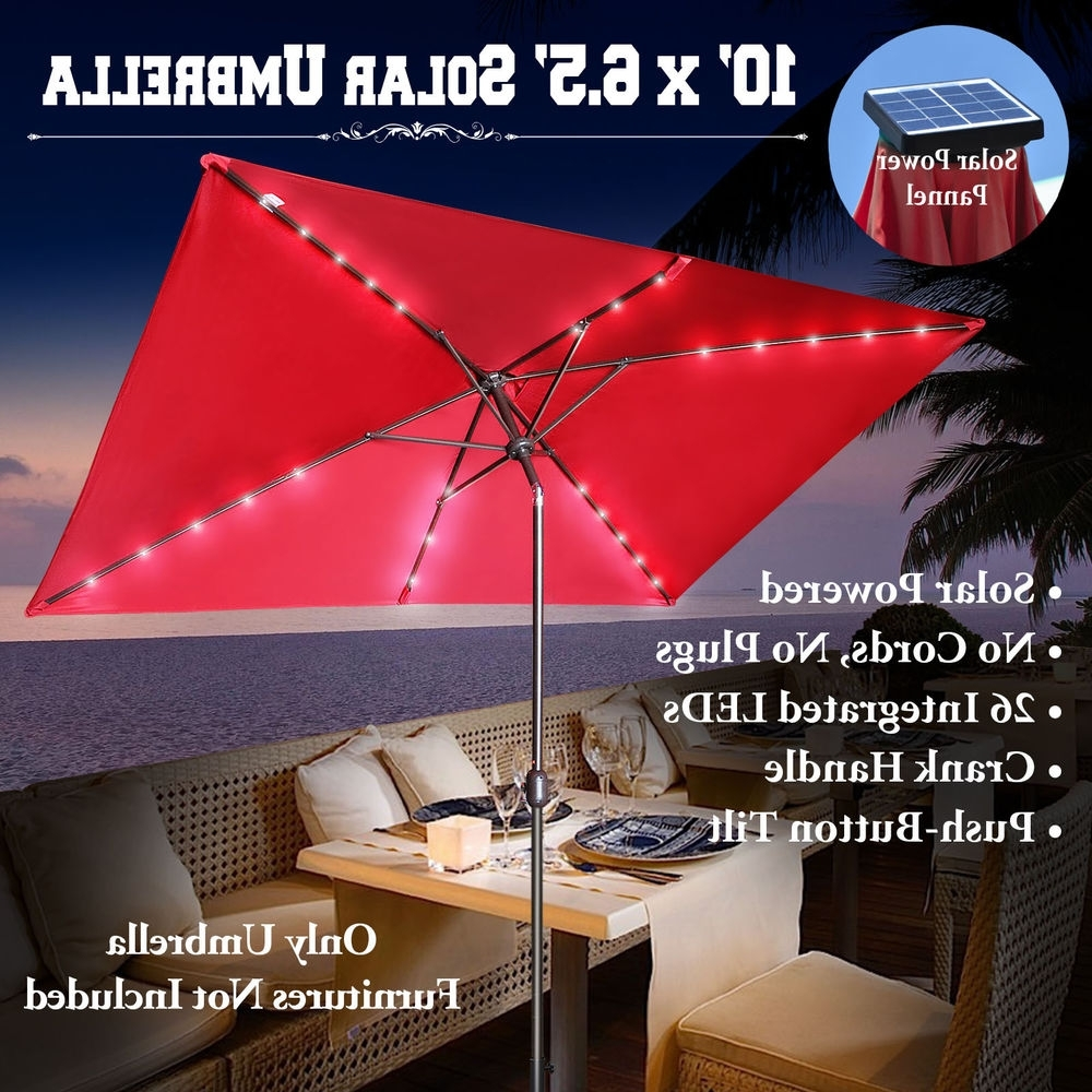 Current 10'x6.5' Solar Powered Patio Rectangle Umbrella 26 Led Lights For Solar Powered Patio Umbrellas (Gallery 19 of 20)