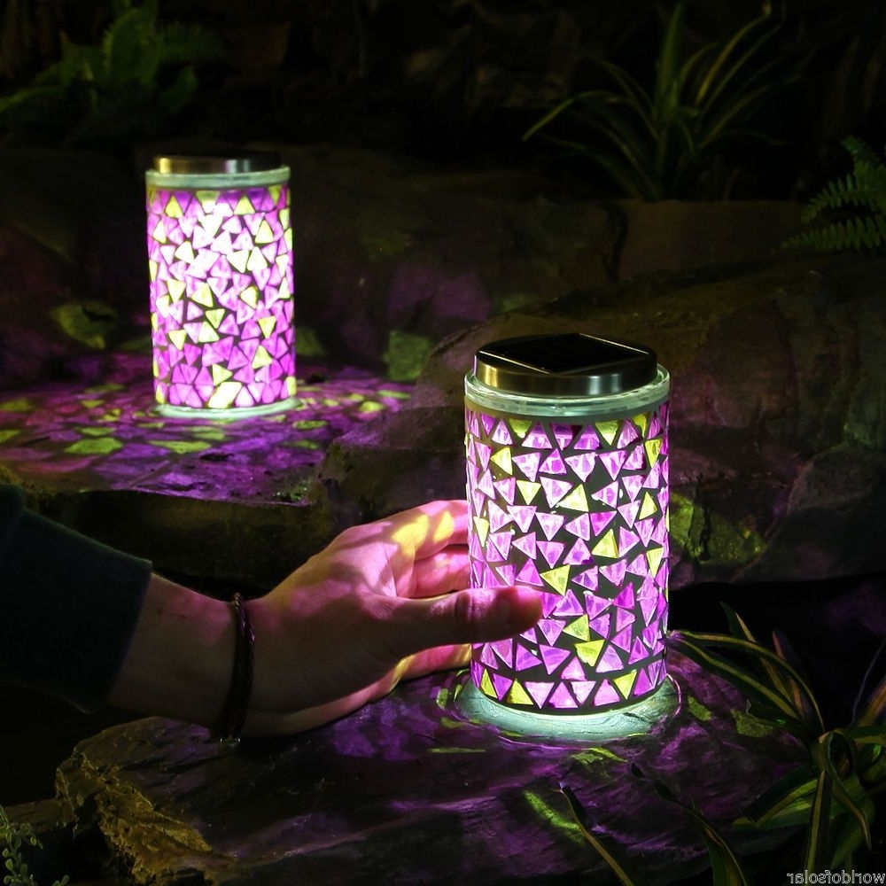 Current 2 Solar Powered Led Mosaic Lanterns Outdoor Garden Multi Colour Pertaining To Outdoor Mosaic Lanterns (Gallery 4 of 20)