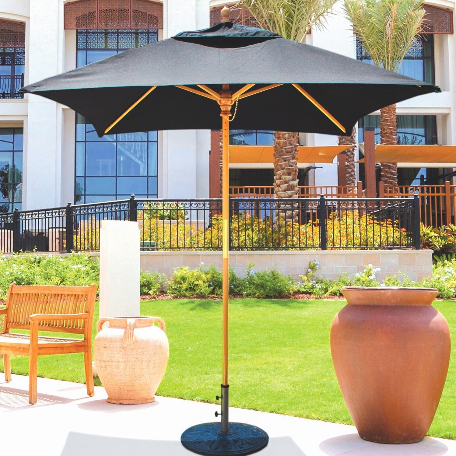 Current 6 Ft Patio Umbrellas Intended For Galtech 6 Ft Wood Square Patio Umbrella With Manual Lift – Light (View 12 of 20)