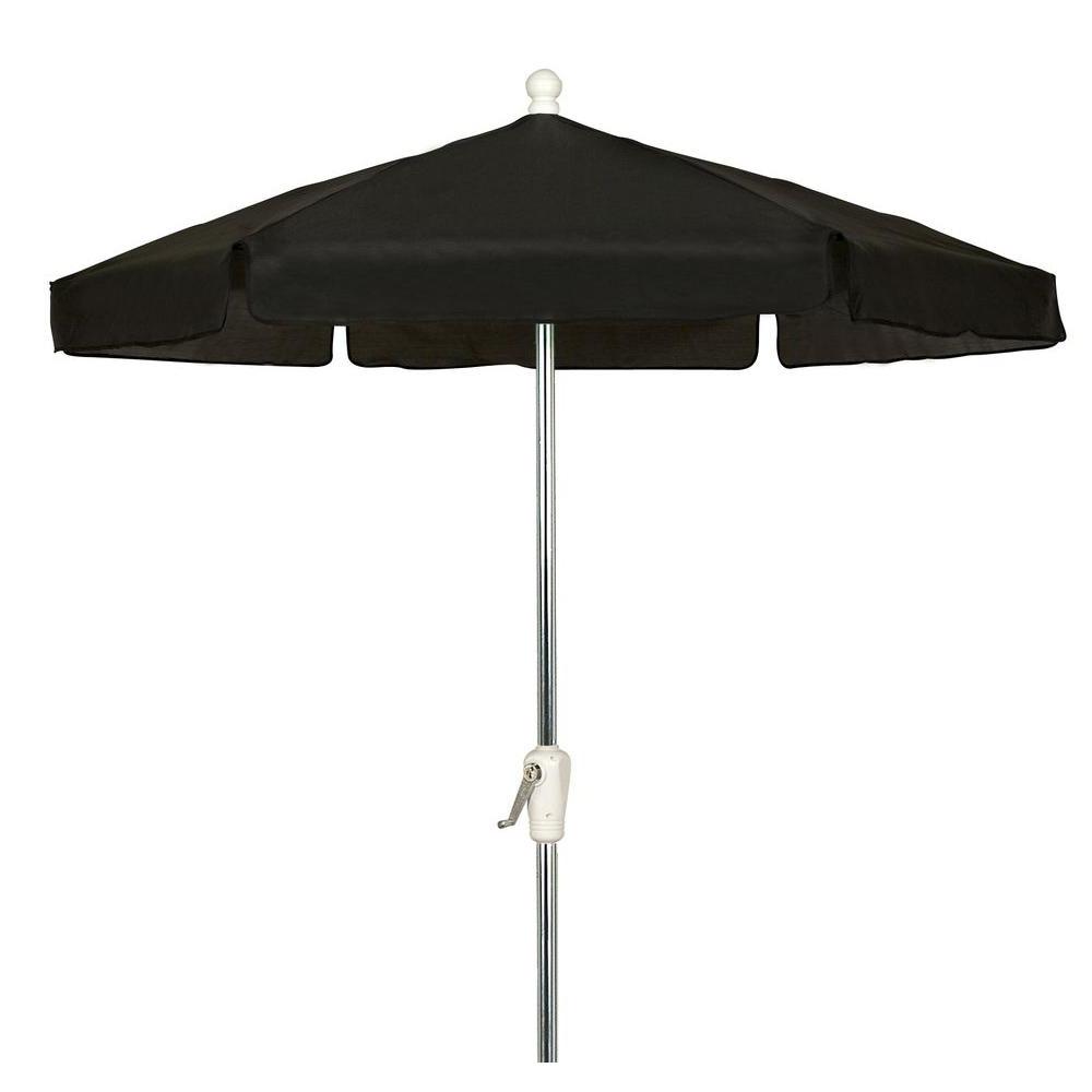 Current Black And White Patio Umbrellas Throughout 7.5 Ft. Hex Garden Patio Umbrella 6 Rib Crank Bright Aluminum In (Gallery 10 of 20)