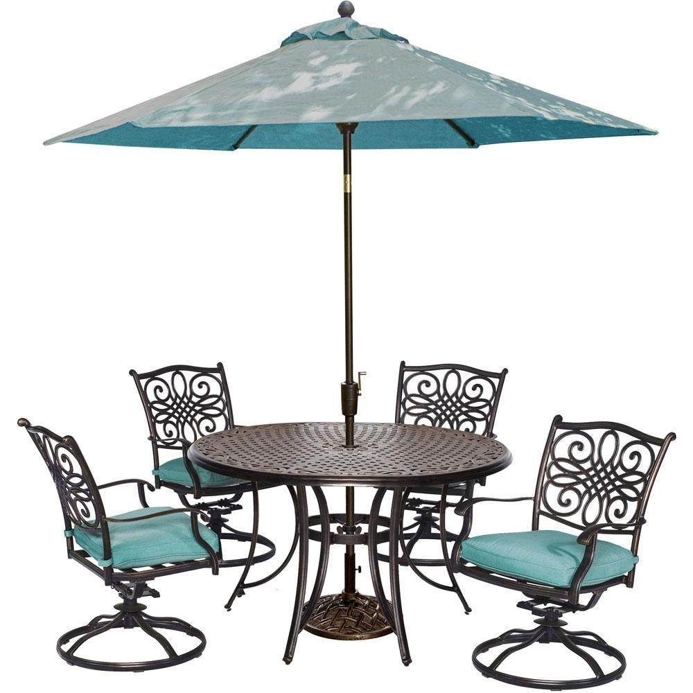 Current Hanover Traditions 5 Piece Outdoor Round Patio Dining Set, 4 Swivel Inside Patio Dining Sets With Umbrellas (View 4 of 20)