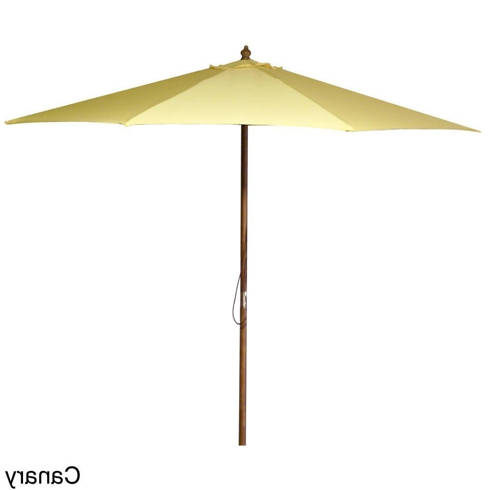 Current Jordan Patio Umbrellas Intended For Jordan Manufacturing 9 Foot Wooden Market Umbrella (Black (Gallery 10 of 20)