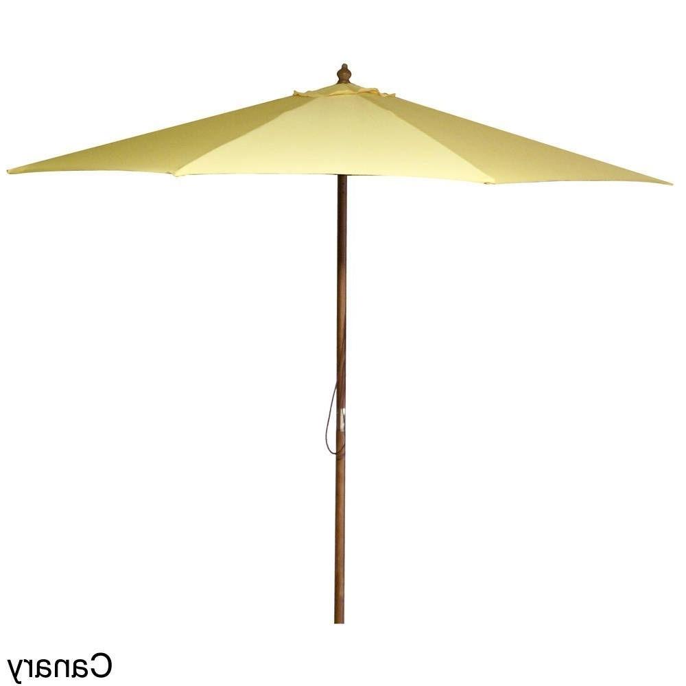 Current Jordan Patio Umbrellas Intended For Jordan Manufacturing 9 Foot Wooden Market Umbrella (Black (Gallery 10 of 20)