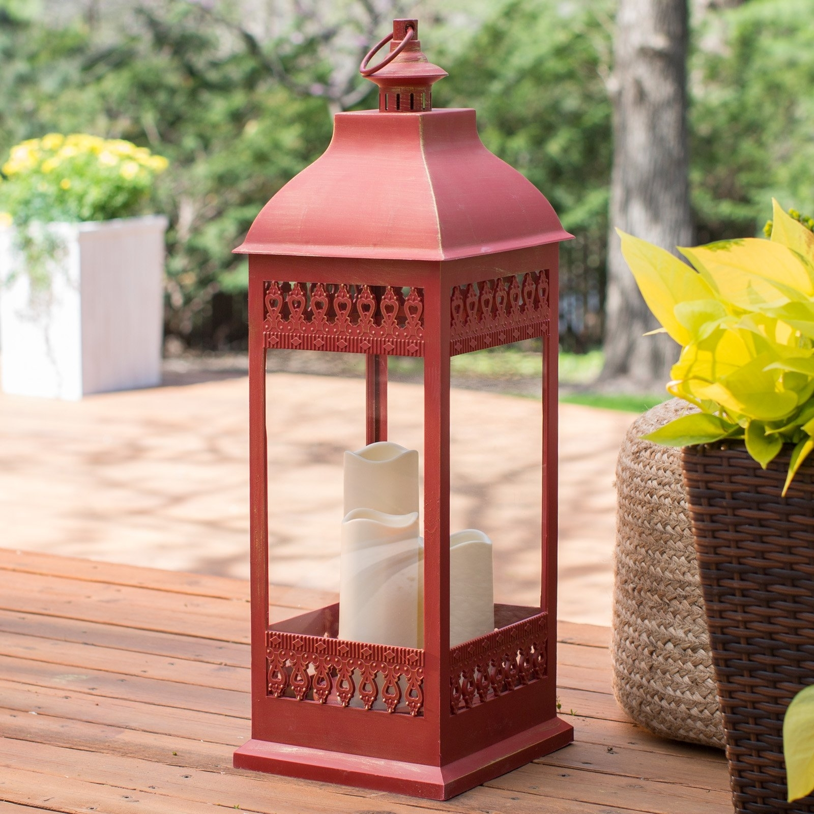 Current Metal Outdoor Lanterns Pertaining To Smart Design San Nicola Lantern With Led Candles (View 18 of 20)