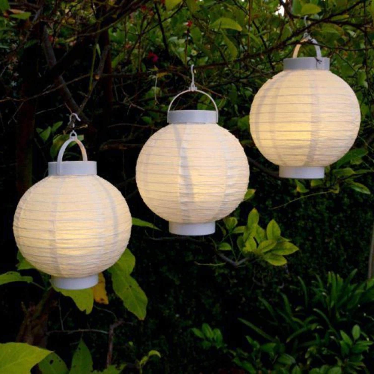 Current Outdoor Chinese Lanterns For Patio With Regard To Sienna Set Of 3 Battery Operated Led Lighted White Fabric Outdoor (View 15 of 20)