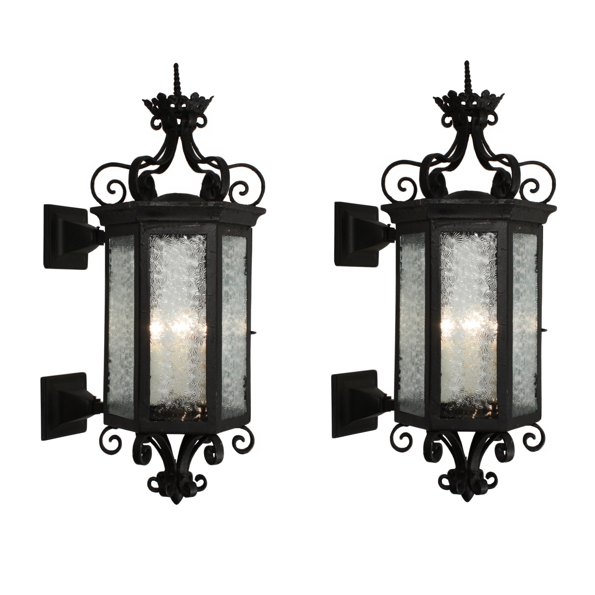 Current Outdoor Exterior Lanterns For Substantial Pair Antique Iron Exterior Lantern Sconces Outdoor Wall (View 1 of 20)