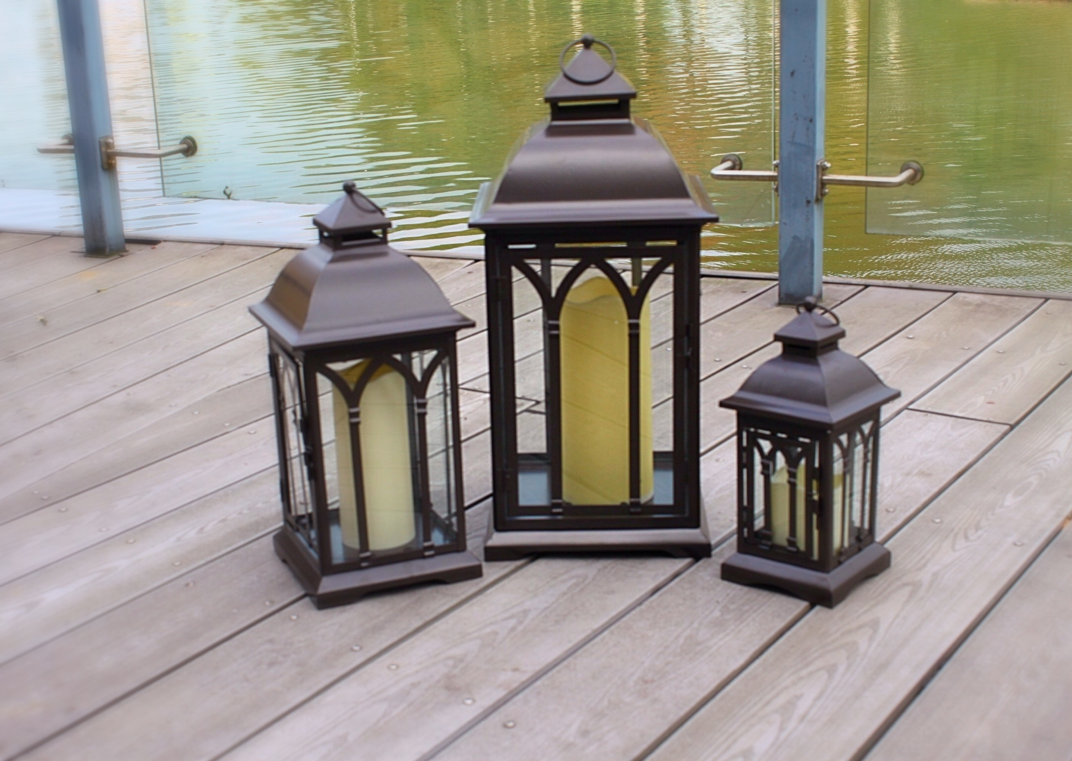Current Outdoor Metal Lanterns For Candles In Exclusive Indoor Or Outdoor Set Of 3 Lombard Patio Lanterns (View 17 of 20)