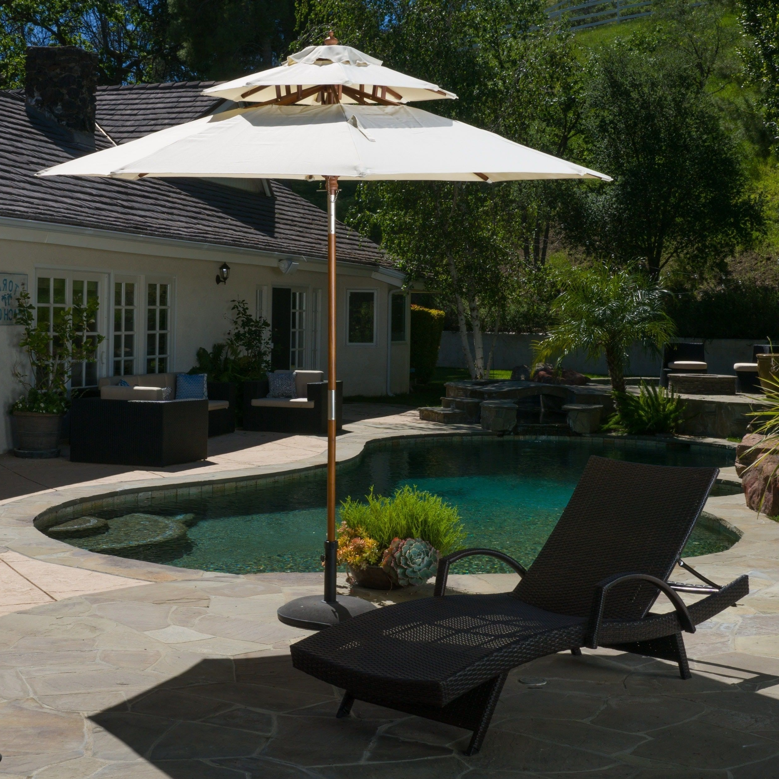 Current Patio Dining Umbrellas Inside Patio Umbrellas : Complete Any Outdoor Dining Set With Our Wide (View 4 of 20)