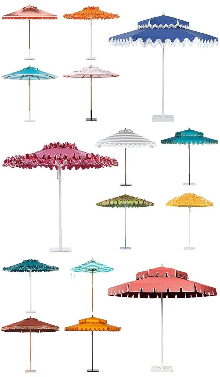 Current Patio Umbrellas With Fringe Inside Poolside Glamour A La Slim Aarons: Stylish Patio Umbrellas (Gallery 4 of 20)