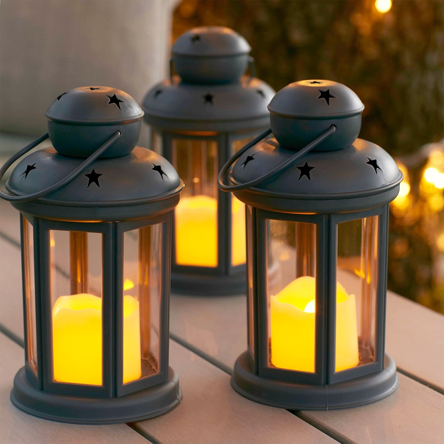 Current Set Of 3 Grey Battery Operated Led Indoor Outdoor Flameless Candle With Set Of 3 Outdoor Lanterns (Gallery 12 of 20)