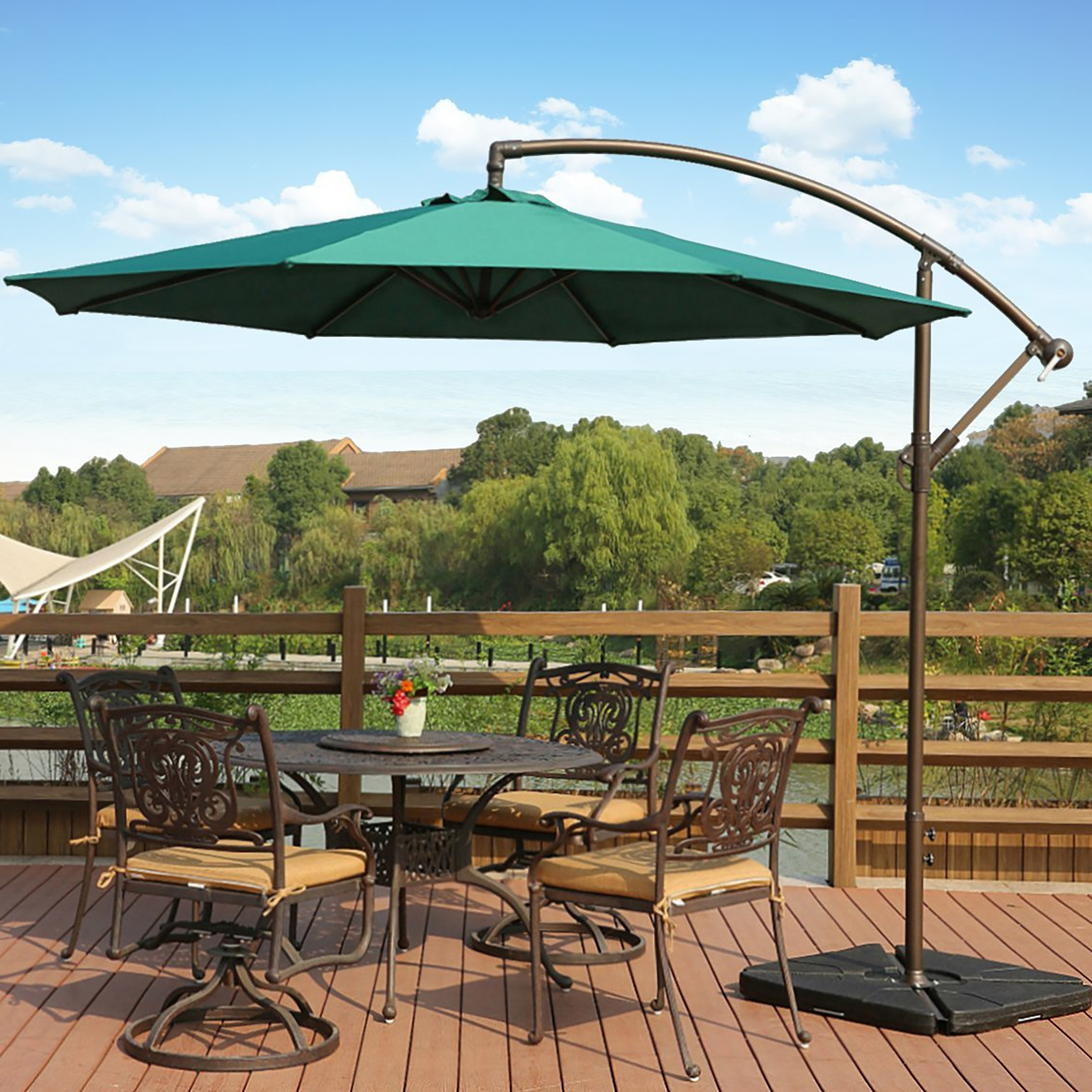 Current Shop Weller 10 Ft Offset Cantilever Hanging Patio Umbrellawestin Throughout Gold Coast Patio Umbrellas (View 5 of 20)
