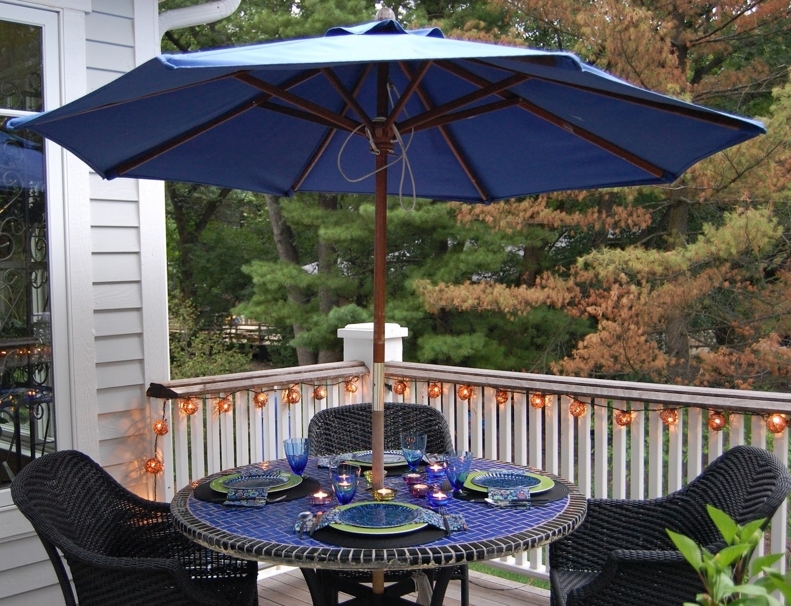 Current Small Patio Tables With Umbrellas Hole Intended For Small Patio Table With Chairs Balcony And Large Umbrella Hole Tables (View 10 of 20)