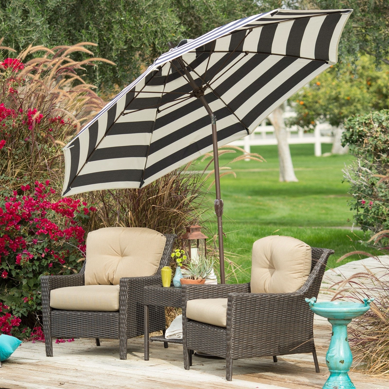 Current Stylish 9 Ft Market Patio Umbrella With Crank And Tilt In Dark Navy With White Patio Umbrellas (View 12 of 20)